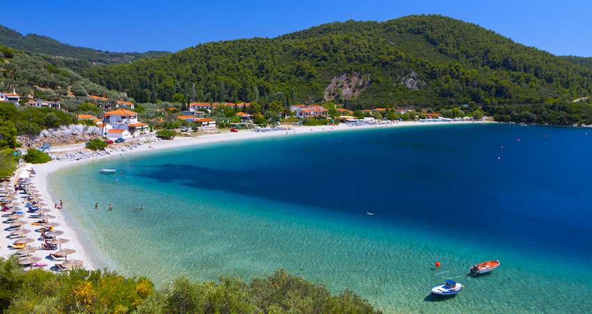 Panormos beach at Skopelos island in Greece ([Image source](https://www.greektravel.com/greekislands/skopelos/))